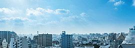 高層階ならではの眺望と開放感を愉しむ。<現地11階から南方向の眺望(2015年10月撮影)>