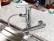 浄水器は、キッチンの美観を損なわないビルトインタイプ。また、シャワーヘッドは引き出して使えます。