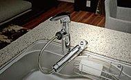 キッチンの水栓には浄水器を内蔵したシャワーヘッドを採用。使いやすいホース引き出し式なのでシンクのお手入れにも便利です。