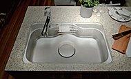 水はねを低減し、会話をしながら洗い物ができる静音シンクです。