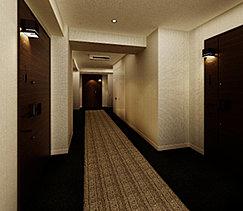 プライバシー性はもちろん、安全性にも配慮した内廊下設計。雨風に当たることなく室内に帰れます。廊下空間は落ち着いた照明計画とし、高級感を演出しました。