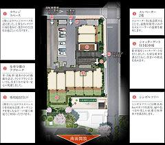 南棟、東棟の2棟構成となる「グローリオ東京住吉」のランドプラン。主開口面に隣接する建物がなく開放感に溢れています。