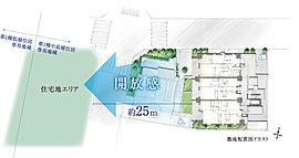 その地に相応しく緑を多く配したランドプランを計画。上層階だけでなく、下層階でも緑の潤いを愉しめるレジデンスの創造を目指しました。