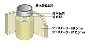 パイプスペースの中で居室に接する部分の造作壁はプラスターボードを二重貼り(9.5mm+12.5mm)にし、排水管は遮音タイプを採用