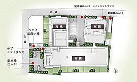 敷地にゆとりをもたせながら、各住戸への採光を考えたコの字型の配棟。また、平置きの駐車場や余裕ある駐輪場も設定。