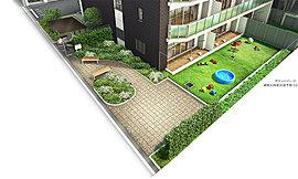 住む人の憩いの場となるポケットパークを敷地北西側に計画。周囲には季節を感じさせる植栽を施し、潤いを楽しみながら過ごせるベンチも設置。公道との離隔を図っており、ゆとりある景観を創出しました。