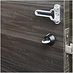 ドアをバールなどでこじ開けようとしても、鎌のような突起が引っかかり高い防犯性を示します。防犯効果を高める仕様です。