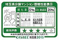 特定建築物環境配慮計画書の提出を行った分譲マンションにおける、「CASBEE埼玉県」に基づいた自己評価結果(環境性能)です。