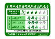 特定建築物環境配慮計画書の提出を行った分譲マンションにおける、「CASBEE京都市」に基づいた自己評価結果(環境性能)です。