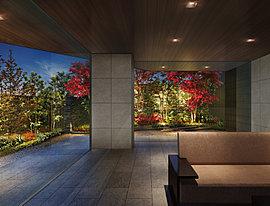 都心から帰り着く人を、安らぎの時へとエスコート。ゲストとの歓談の場にもふさわしい、ホテルライクなエントランスホールをデザインしました。四季を感じさせる「和」の植栽が彩るプライベートな坪庭が、くつろぐのひとときに自然の潤いをもたらします。