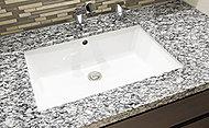 洗面カウンターのトップに、天然石を採用し、上質で美しいパウダー空間に設えています。
