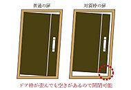ドアとドア枠の間に適切な隙間を設け、地震などによりドア枠が変形した場合でも開閉不良を生じにくくします。
