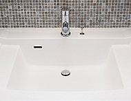 継ぎ目のないカウンター一体成型とフランジレス排水栓でお手入れも簡単。