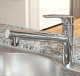 ヘッドが引き出せ使い勝手のよい浄水器一体型シャワー水栓