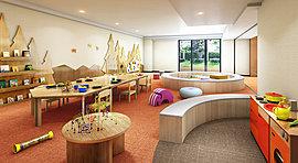 ボーネルンドがプロデュースするキッズルームは、からだ遊びやごっこ遊び、絵本などの遊具を備えた空間。室内なので、天候を気にせず親子で思いきり遊ぶことができます。