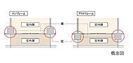 アウトフレーム工法とは柱や梁を室外に設ける工法を指します。※バルコニー側のみ