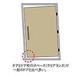各住戸の玄関扉に採用した耐震枠が地震時の壁の変形や歪みに追随し、万が一の場合にも扉の開閉がしやすい構造となっています。