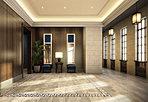 """天井の高さが強調されるような壁面構成で""""木パネル""""や""""大判タイル""""を貼りこんでいます。"""