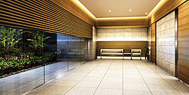 ガラスの向こうに眺める風情豊かな庭園、フロアに配した気品のあるタイル、天井にはほのかな間接照明の灯り。私的領域へと誘う空間です。