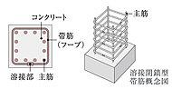 柱の主筋を拘束する帯筋の一部には溶接閉鎖型を採用。せん断破壊や柱の挫屈防止に効果の高い工法です。