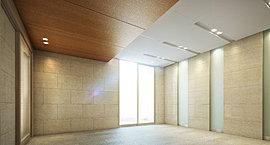 エントランス廻りは、ぬくもりを感じる素材を使用することで、風格を備えた穏やかな迎賓空間を実現。
