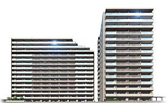 外観完成予想図※ブルームコートは左側の建物となります。(右はロイヤルコート)
