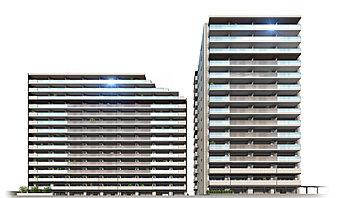 外観完成予想図※ロイヤルコートは右側の建物となります。(左はブルームコート)