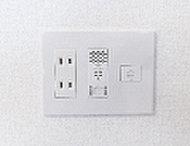 電話回線、無線LANポート、電源を1つにまとめました。機能的に使いやすいだけでなくお部屋がスッキリ使えます。
