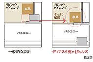 バルコニー側の居室の角に、柱が室内に出っ張らないアウトフレーム設計を採用しました。家具などをコーナーにすっきりと配置することができます。