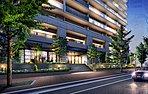 高木のシンボルツリーを階段の左右に配し、特別なプライベートタイムへと誘うゲートとしての構えを与えたエントランスアプローチ。花と緑が彩るテラスウォールを雛壇状に造形することで立体感を演出し、豊潤な自然のやさしさで街路樹と調和する景観を描きました。