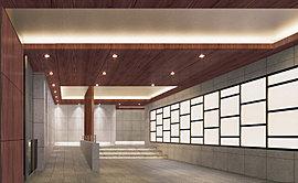 秀逸の素材と意匠が織りなす洗練されたエントランスホール。床、壁、天井など細部までこだわった秀逸の素材と綿密な意匠が織りなす洗練された空間。