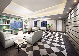 エントランスホールはモノトーンを基調に折上天井や飾り棚を設けて、ホテルのラウンジのような上質な落ち着いた空間を演出。