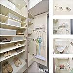 たっぷりと収納できるミラー扉付のトールタイプシューズボックスは、ご家族の靴はもちろん、ゴルフバッグやベビーカーも収納できます。