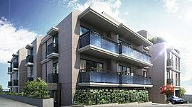 「オランダ(ダッチ)デザイン」をコンセプトに水平ラインを意識した外観デザインとしています。バルコニーの形状と小庇の白いラインが水平線を強調するとともに、住戸ごとに凹凸を設けるなど、画一的なデザインにならないよう心配り。