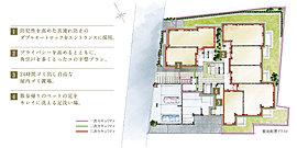 四角い形状の敷地に雁行的な配棟をプランしたプライバシー配慮のランドプラン。各住戸はコンパクトながらも、機能美を追求した住空間がライフスタイルに合わせて選べます。また、中庭や周囲の要所に植栽を配置し、潤いのある暮らしを演出します。