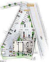 124%の平面駐車場を敷地内に。来客用駐車場やEV・PHV用共用充電スペースも。敷地の広さを活かし、敷地内に63台分の駐車場を設置。200%の自転車置場を設置。うち半数は子ども乗せ自転車に対応。自転車置場はたっぷり98台分のラックを設置。