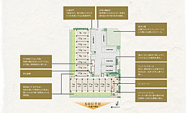 2方道路の角地と2棟構成により南向き中心の開放的な空間を実現。