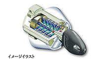 F22の半円周上に配置した5方向22本のピンに対応するディンプルは、不正コピーがほぼ不可能。