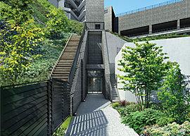 マンション専用のエアーエレベーター利用で、軽やかに丘上の空中庭園へ。