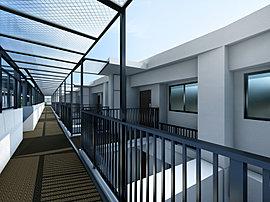 共用部にも開放感を感じる空中廊下を設えました。「クオス横浜六浦ヒルトップレジデンス」の設計において何よりも大切に考えたことは、丘上の開放感に満ちた暮らしをご実感頂ける住まいを目指すことでした。
