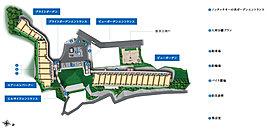 約8,200m2の敷地に、海と空に面した2棟構成の配置計画。敷地の前に海と空が広がる、ヒルトップならではの開放的な形状。※1 横浜市に提供予定。