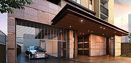 車寄せとリングシャッターを設けたエントランスアプローチ。駐車場の出入口には不審者と車の侵入を抑制する、防犯性の高いリングシャッターを採用。車内からリモコン操作でシャッターを開閉でき、出入庫もスムーズです。