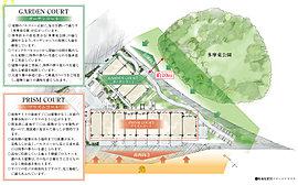 空地率の高さを上手く生かして、敷地内随所に緑地スペース。プレシス多摩永山レヴィエは、建物レイアウトを工夫することで生み出された空地率の高さも大きな魅力です。隣接する深緑との調和も考慮して、敷地内には、潤いの緑地スペースも確保しています。