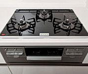 安心センサー、消し忘れ機能、立ち消え安全装置の3つの安全機能とともに調理に便利な機能を多数搭載したコンロ。