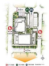 フラットな道を、駅へ徒歩3分(約240m)のアプローチ。四方を道路に囲まれた、開放感のある計画地。南向き住戸率65%超のプランニング。