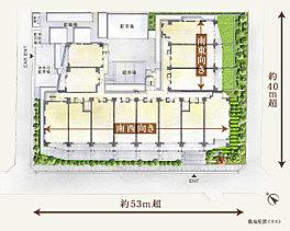 奇跡のような出逢いです。敷地の広さは2,450m2。駅を至近にしながらも、全90邸もの大規模レジデンスを描くスケールです。その上、整形の3方角地という恵まれた形状により、土地を効率良く使える配棟計画が実現。