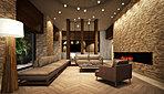 エントランスから入り、住まう方、訪れる方を気品のなかに歓迎する空間はラウンジです。語らいのためのソファに加え、暖炉も配するなど、もてなしの思いとともに、あたたかな人と人とのふれあいを演出する場所となります。