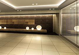 ホテルのパブリックスペースを思わせるグランドエントランスは、御影石のオブジェが上品な世界観を演出。