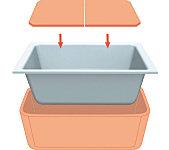 浴槽の保温材と専用フタのダブル保温でお湯の温度を長時間キープする保温浴槽を採用しています。