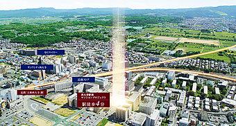 空撮写真※掲載の写真は現地周辺の航空写真(平成26年9月撮影)にCG処理を施したもので、色調等実際のものとは異なります。
